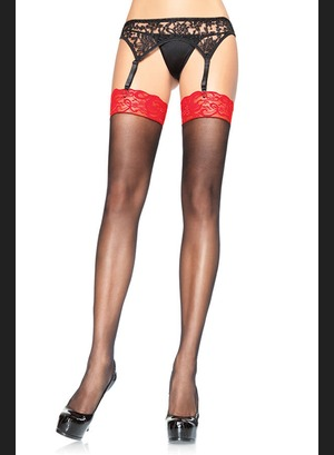 Leg Avenue Sheer Thigh Highs Black Red